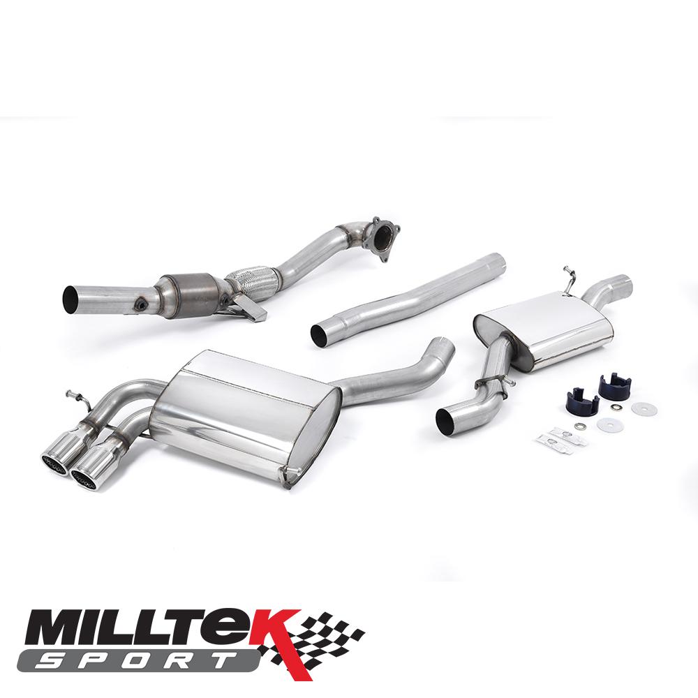 "Milltek Sport Audi S3 8P 2.0 TFSI Quattro Sportback (2007-2012) 2.75"" Turbo Back Exhaust System Including Sports Cat - SSXAU199"