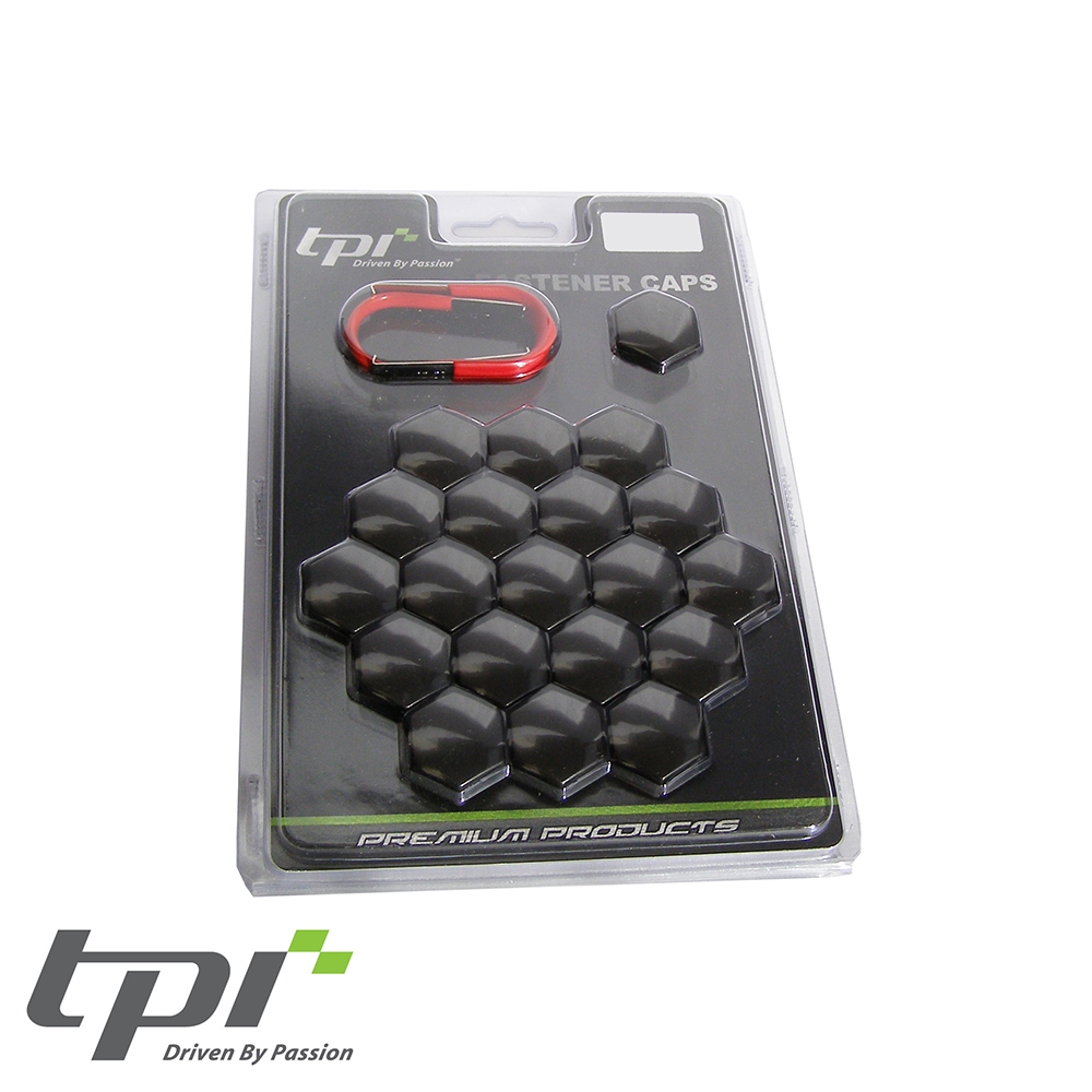 TPI Wheel Bolt/Nut Covers - Injected Black - 17mm - WNC17BKTX20