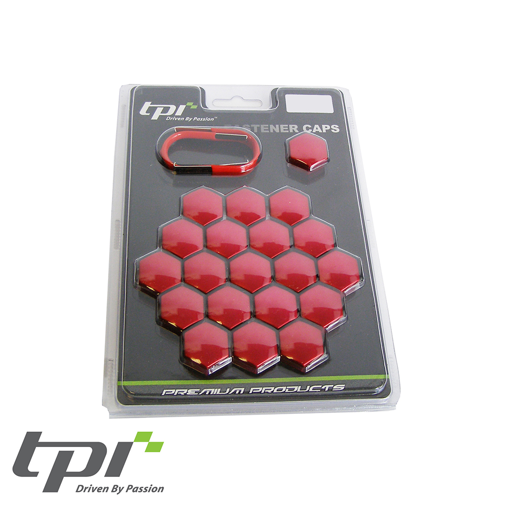 TPI Wheel Bolt/Nut Covers - Red - 17mm - WNC17RDTX20