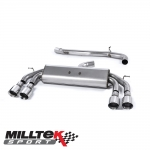"Milltek Sport Audi S3 8V 2.0 TFSI Quattro 3 Door (2013-) 3.00"" Non-Valved Cat Back Exhaust System (Non-Resonated) - SSXAU523"