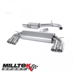 "Milltek Sport Audi S3 8V 2.0 TFSI Quattro 3 Door (2013-) 3.00"" Non-Valved Cat Back Exhaust System (Resonated) - SSXAU529"