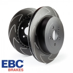 EBC Brakes Audi A1 8X 1.0 TFSI 95 BHP (2015-) BSD Series Bi-Directional Fine Slotted Brake Discs (Rear) - Girling/TRW Caliper - 233mm Disc - BSD816